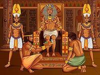 picture of a pharaoh with supplicants and guards